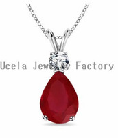 Popular Summer Season Sterling Silver AAA Red CZ Necklace Pendant 2014 celebrity fashion jewelry