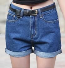latest high waist large size denim shorts with belt