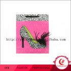 Printed Zebra High Heel Gift Bag with Feather