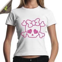 Skull rhinestone heat transfers slim fitted tshirt wholesale women