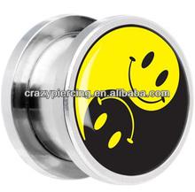 2014 Fashionable fake Yin Yang Smiley Face tunnels Ear