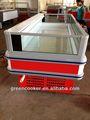 auto descongelación curvos de vidrio puerta comercial de la isla del congelador profundo guangzhou oem facotry