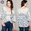 шифон шелковые блузки для женщин с длинным рукавом цветочные печать модели блузка для униформы