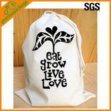 Reusable printed drawstring bag cotton