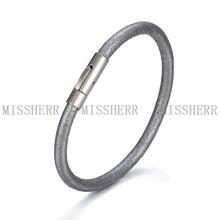 MissHerr 2014 fashion jewelry bio magnetic leather bracelet