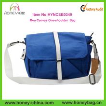 Men Canvas One-shoulder Bag Messenger Bag Books School Bag Blue Wholesale