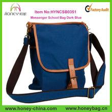 Men Canvas leather Messenge School Bag with Leather Shoulder School Bag Wholesale Dark Blue