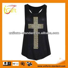 2014 fashion hot sale simple cotton sexy girls sport vest (VT085)
