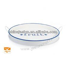 Ideal For Outdoor Entertaining, BBQs, Picnics Tray,metal tray with white body & blue rim