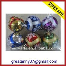 customized hand painted shiny/matt/glitter/disco packed plastic Christmas ball ornament