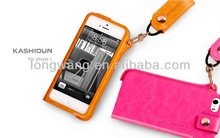 KASHIDUN SHANG Series high quality Leather Case For iphone 5 i5s With Neck Strap Lanyard cell phone hang rope