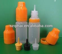liquid nicotine/liquid a flavor taste/ transparent PE smoke oil bottle, E-liquid bottle with long thin dropper