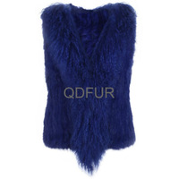 QD30296-9 2014 Garments Importer Fashion Rabbit Skin Vest with Tibet Sheep Fur