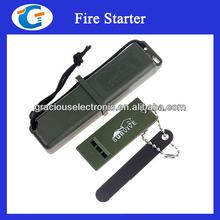 Disaster emergency survival kit (flint fire starter, whistle, reflective mirror, scale plot, can opener)