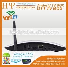 XBMC/NETFLIX Google TV set top box Amlogic 8726-MX Dual core Android 4.2 Bluetooth 1GB RAM 8GB Flash with camera mic