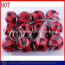 Welcome custom ODM/OEM red black foot ball keychain