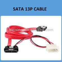 13p 7+6 p Slimline SATA Cable Cord for SATA Slim DVD+/-RW Drive + 2p Power Cable