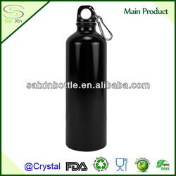 25oz Black Aluminum Water Bottle with Carabiner