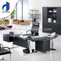 Moderno de cristal templado mesa de oficina/de oficina de cuero escritorio de gerente( f- 14)