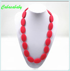 Chewable Silicone Necklace Black & Red Round Beads