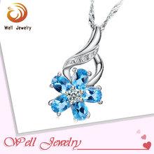 Direct Wholesale 925 Fashion Blue Lucky Flower Pendant Necklace