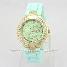 Women watches Geneva Crystal Watch Jelly Gel Silicon Girl Women's Quartz Wrist Watch Candy Colors