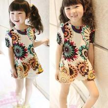 2014 children girls baroque with hem short sleeve Children's clothing wholesale manufacturer direct sale