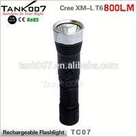 shenzhen factory Cree T6 18650 800lumens LED vibrator flashlight TANK007 TC07 a2349