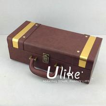 beautiful Hot Sell Fashion PU Leather Wine Gift Package With Handle Leather wine package packaging box