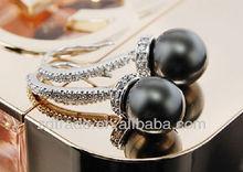 Newest Black Peal Long Glittering Elegant Jewelry Korea High-quality Manual arring Big Fashion ZDER-183 2012 2013 for girls