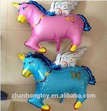 2014 new printing blue and pink pegasus shape foil mylar balloons for girl/kids/children/boy toys