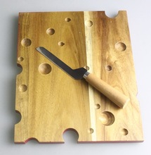 2014 LIVEON Square Wood Cheese Cutting Board with Cheese Knife