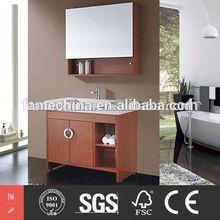 2014 Glossy wall mounted rubber wood bathroom vanity