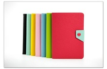 Elegant hybrid color leather case flip belt book style leather case for ipad mini