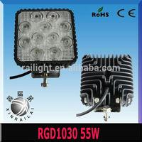ip68 55w epistar 9v-32v 4wd driving spot lights 4x4 RGD1030 6500K,ATVS,SUV LED work light for cars headlight