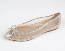 2014 New style shiny bow point toe flat girls' shoes