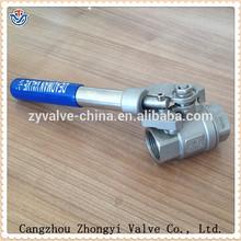 2-pc stainless steel full port screw end Long handle ball valve