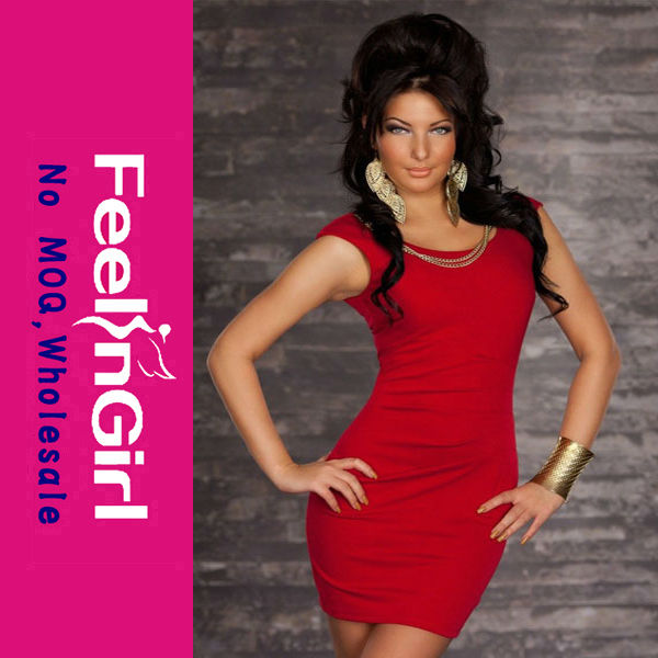 New style red round neck celebrity bandage dress wholesale quick delivery