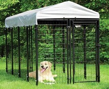 6x4x8ft Outdoor Boxed Black powder-coated welded Dog Kennels