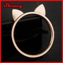 2014 fashion 925 sterling silver gold cat ring,cute animal cat ring
