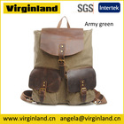 Best Sell Fashion Vintage Casual School Army Green Men Waxed Canvas Bag for Backpack and Shoulder