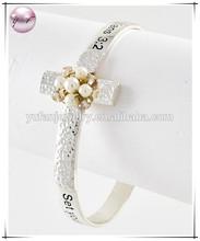 Two-tone Metal White Fresh Water Pearl Clear Rhinestone Cross W Message 'colossians 3:2' Bangle Bracelet
