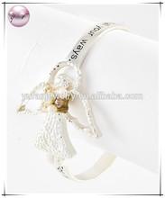 Two-tone Metal White Fresh Water Pearl Clear Rhinestone Angel W Message 'psalm 91:11' Bangle Bracelet