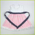 2014 nuevos diseños baby girls chevron vestido de campesino para 4th de julio