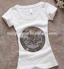 skull pattern printing women's t shirt wholesale tagless t shirt 100% cotton short sleeves aeropostate tee wholesale