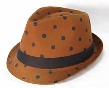 kids cotton bowler man hat with ribbon