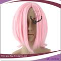 Reta curta rosa cosplay peruca masculina