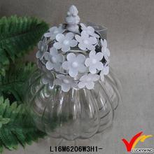 French Vintage Iron Floral Lid Glass Showpiece Decoration Jar
