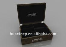 Brown grainy wooden tea storage box