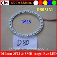 D80 mm 24SMD 3528 Band New Style SMD LED Angel-Eyes Ring Car Light White